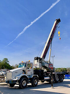 New National NBT60L boom truck being prepped by the CraneWorks Rentals team