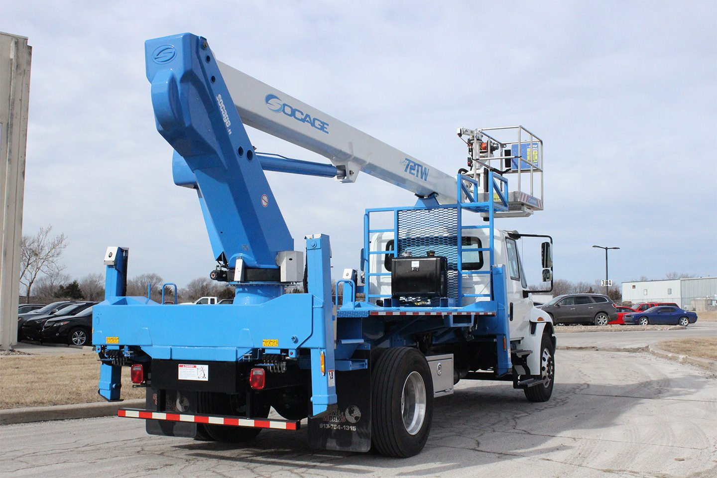 New Socage 72TW aerial lift for sale on International 4300SBA chassis Rear